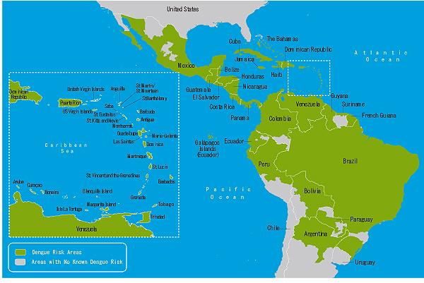 地図 3-01.デング熱流行地域(北中米カリブ海)