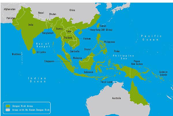 地図3-03.デング熱流行地域(アジア・オセアニア)