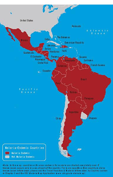 地図 3-09. マラリア流行地域(西半球)