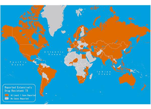 地図3-15. 推定結核発症率, 2009年