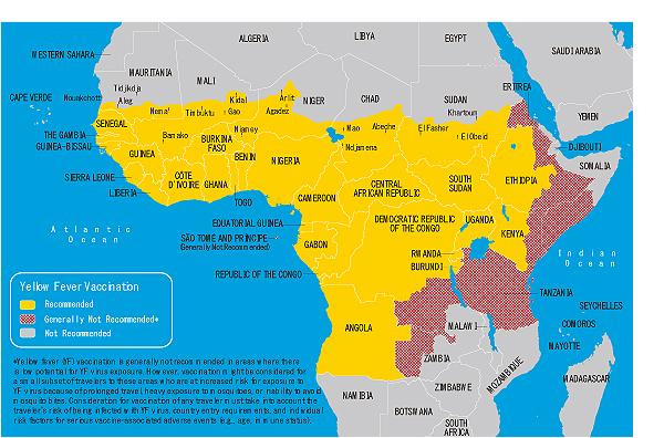地図 3-16. 黄熱病流行地域(アフリカ)