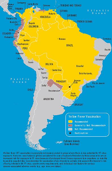 地図 3-17. 黄熱病流行地域(南米)